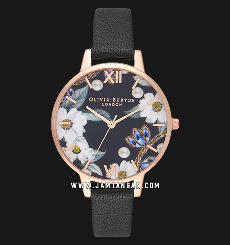 Olivia Burton OB16GSET24 Bejewelled Floral and Pearl Bee Gift Set Motif Dial Black Leather Strap Machtwatch