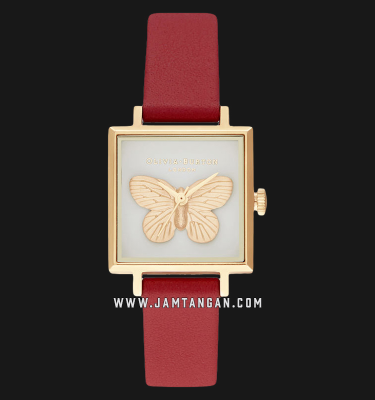 Olivia Burton OB16GSET27 3D Butterfly Gift Set White Dial Red Leather Strap Machtwatch