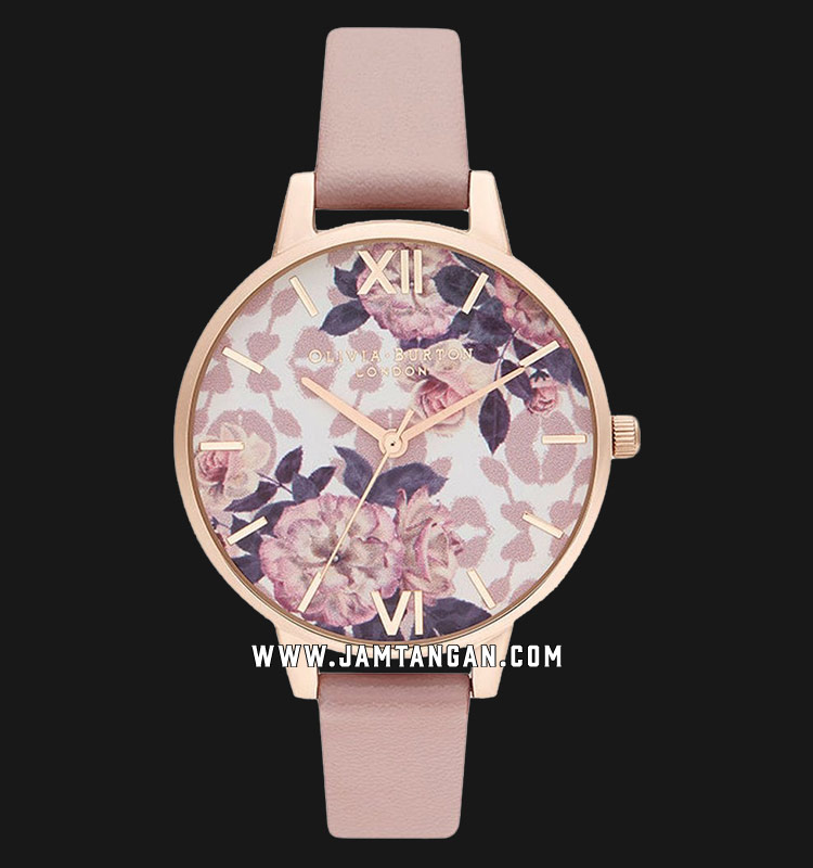 Olivia Burton Wildflower OB16LP03 Vegan Floral Dial Peach Leather Strap Machtwatch
