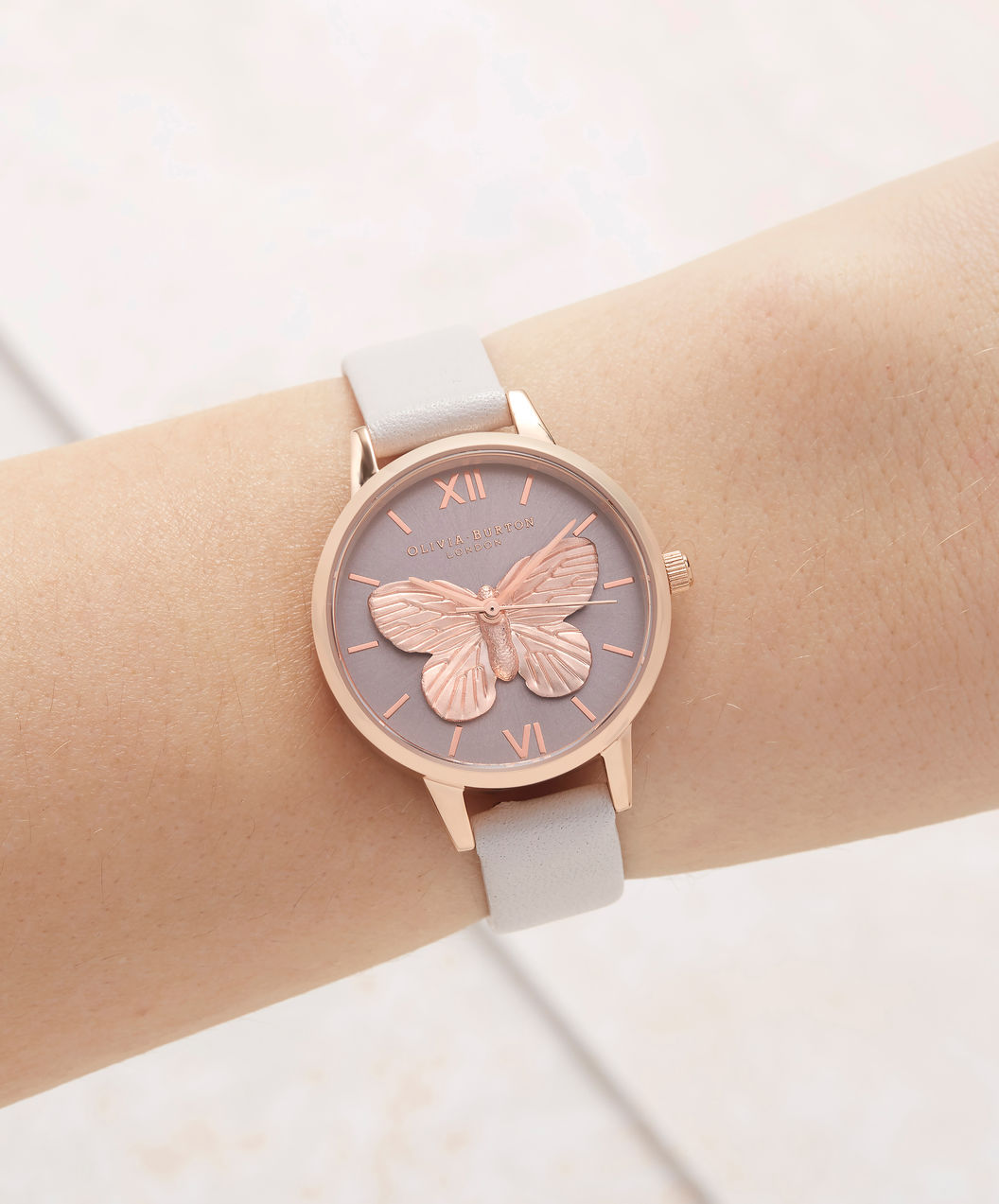 Olivia Burton OB16MB16 3D Butterfly Blush Ladies Dual Color Dial White Leather Strap Machtwatch