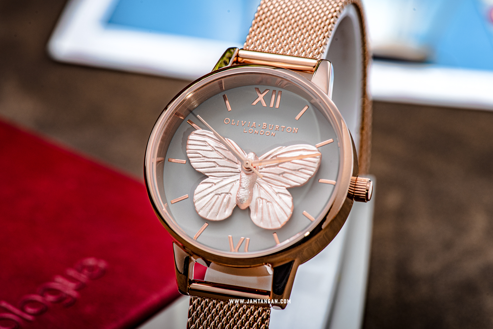 Olivia Burton 3D Butterfly OB16MB28 Grey Dial Rose Gold Mesh Strap Machtwatch