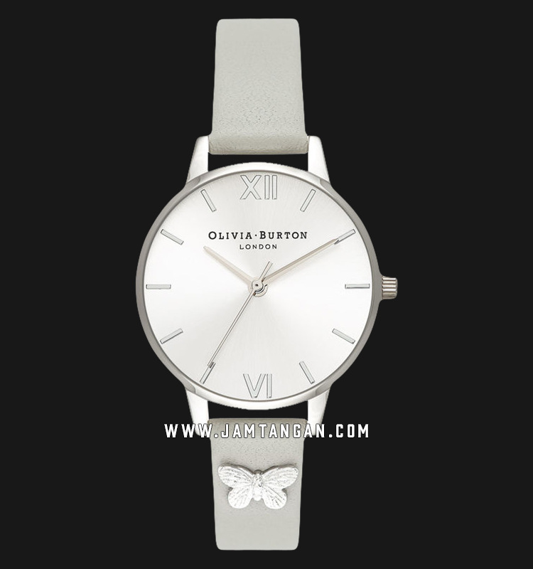 Olivia Burton OB16MD93 Embellished Butterfly Ladies Silver Dial Grey Leather Strap Machtwatch