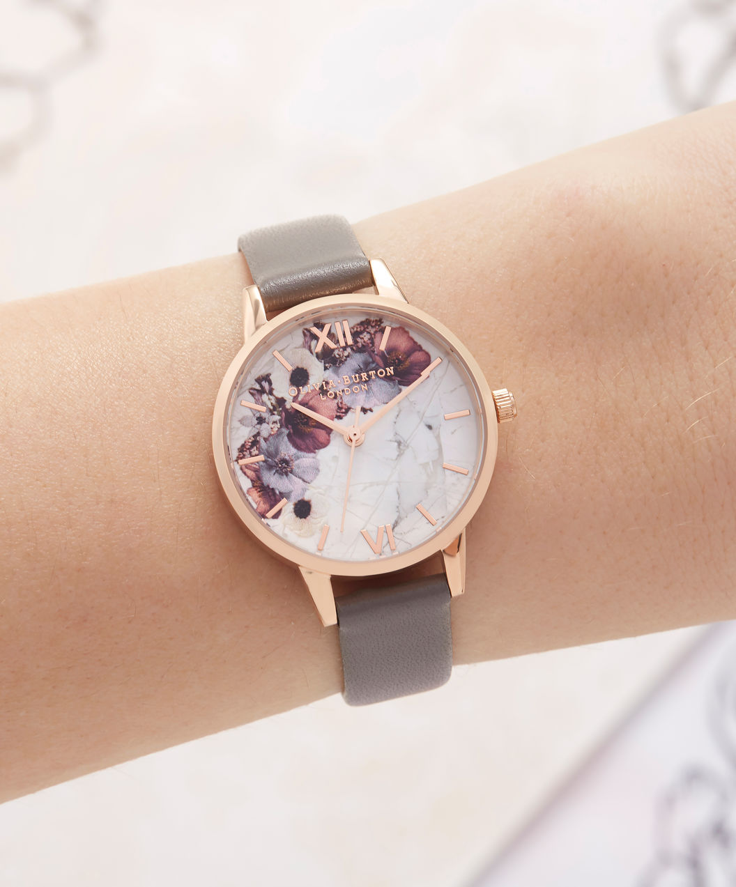 Olivia Burton OB16MF08 Marble Floral London Ladies Multicolor Dial Grey Leather Strap Machtwatch