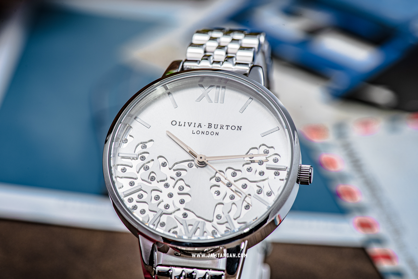 Olivia Burton Bejewelled Lace OB16MV101 Silver Sunray Dial Stainless Steel Strap Machtwatch