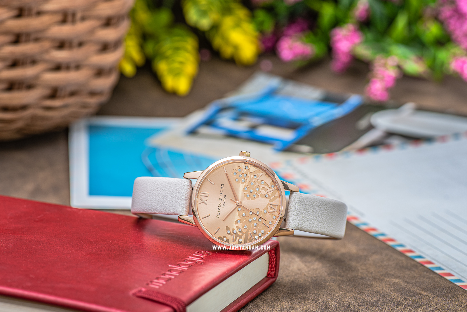 Olivia Burton Bejewelled Lace OB16MV102 Rose Gold Sunray Dial White Leather Strap Machtwatch