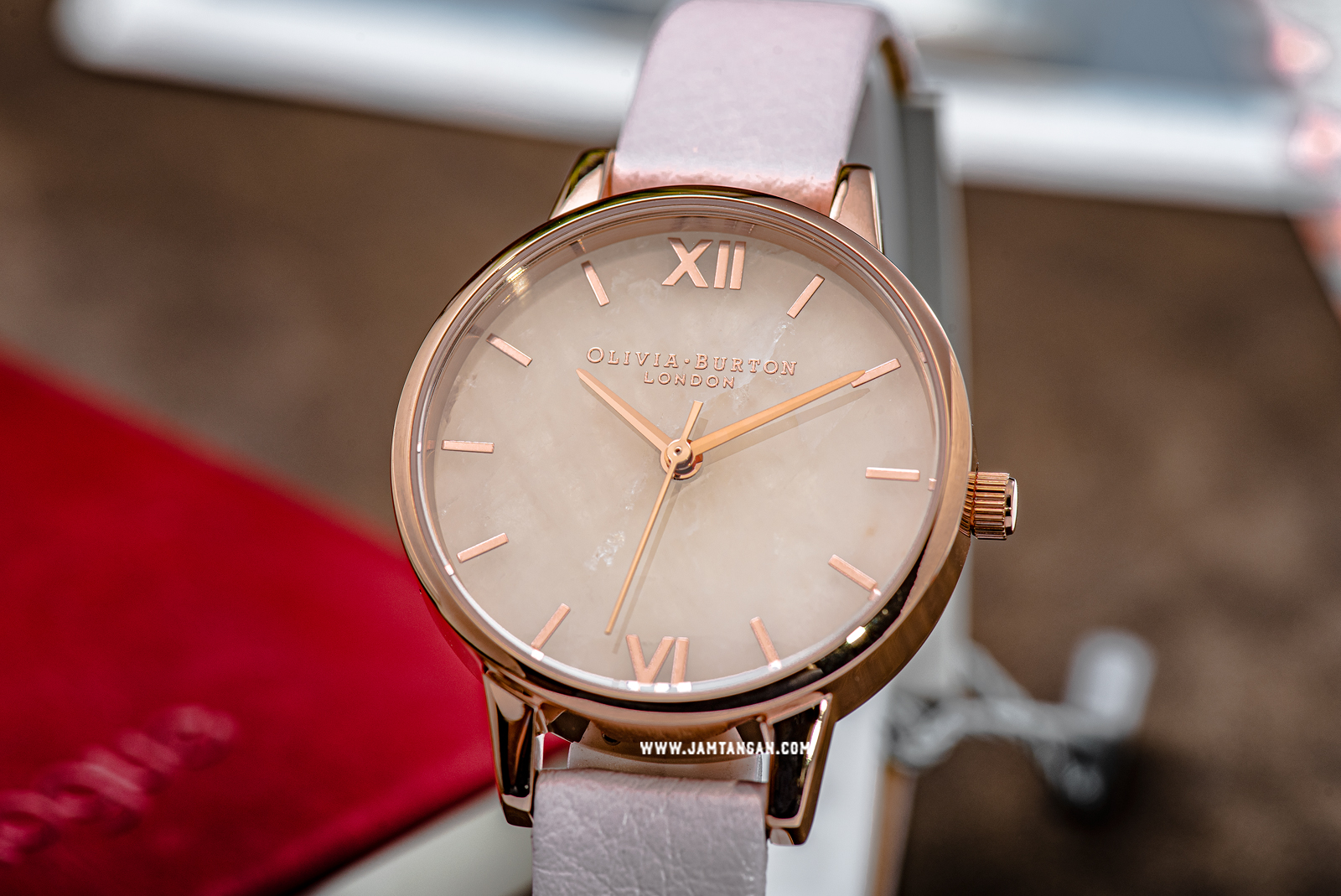 Olivia Burton Semi Precious OB16SP02 Rose Gold Dial Pink Leather Strap Machtwatch