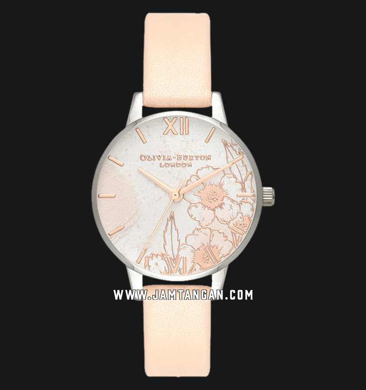 Olivia Burton OB16VM27 Abstract Florals Dial Peach Leather Strap Machtwatch