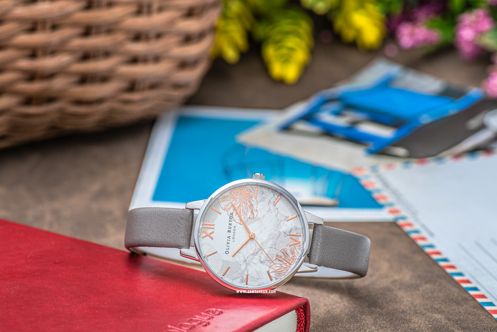 Olivia Burton Abstract Florals OB16VM32 Multicolour Dial Grey Leather Strap Machtwatch