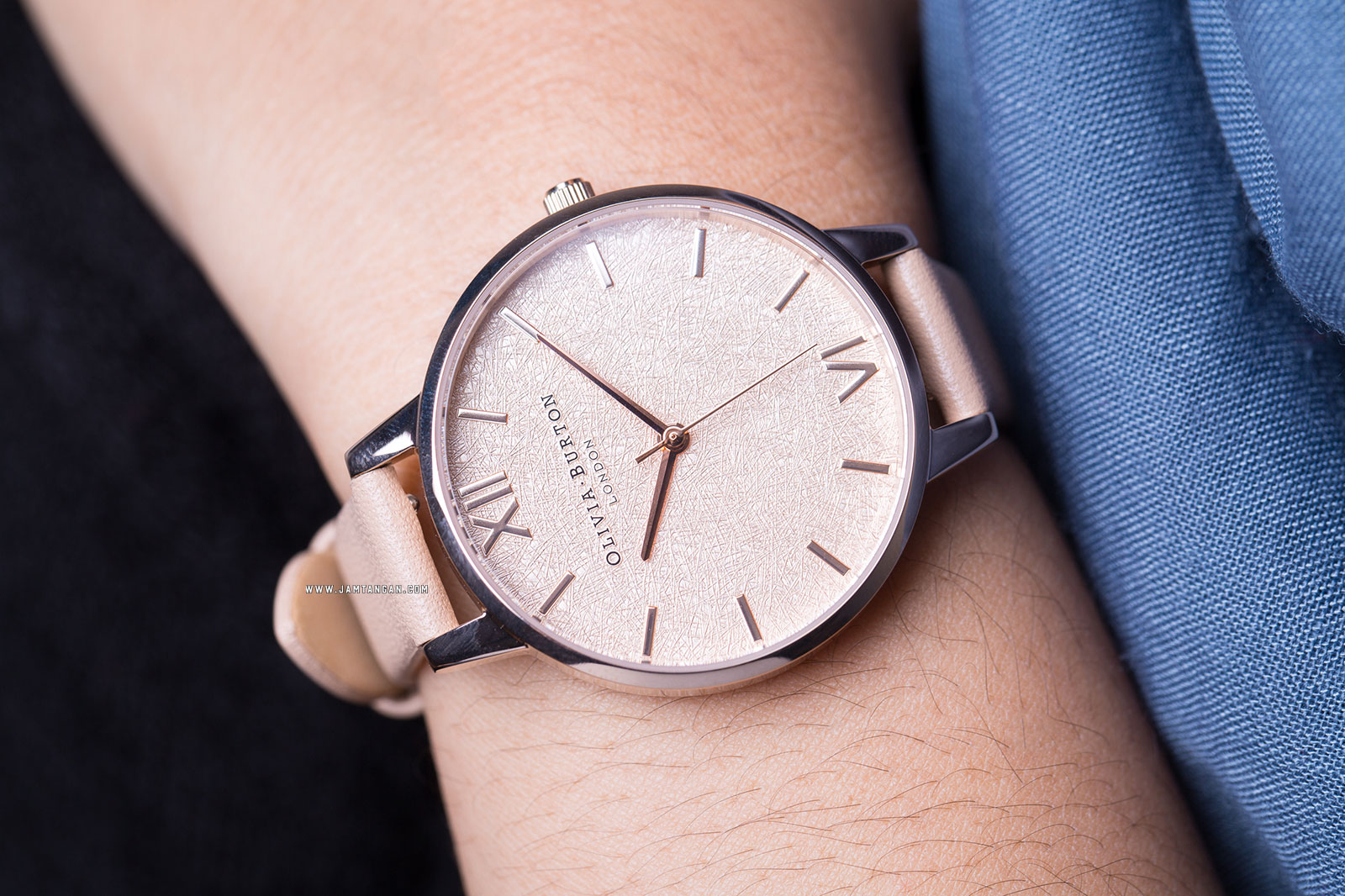 Olivia Burton Woven OB16WV01 Rose Gold Dial Tan Leather Strap Machtwatch