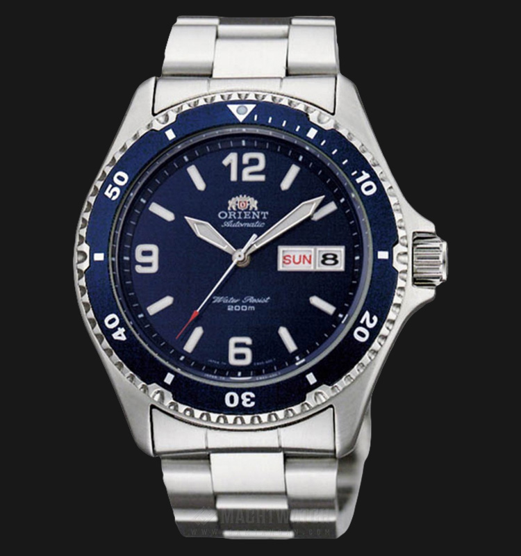 Orient Mako II Automatic Divers FAA02002D Men Blue Dial Stainless Steel Strap Machtwatch
