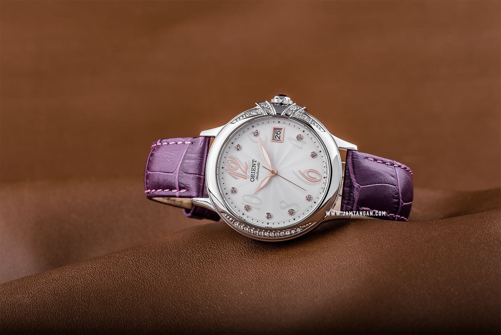 Orient FAC07003W Fashionable Automatic Elegance Ladies White Dial Purple Leather Strap Machtwatch