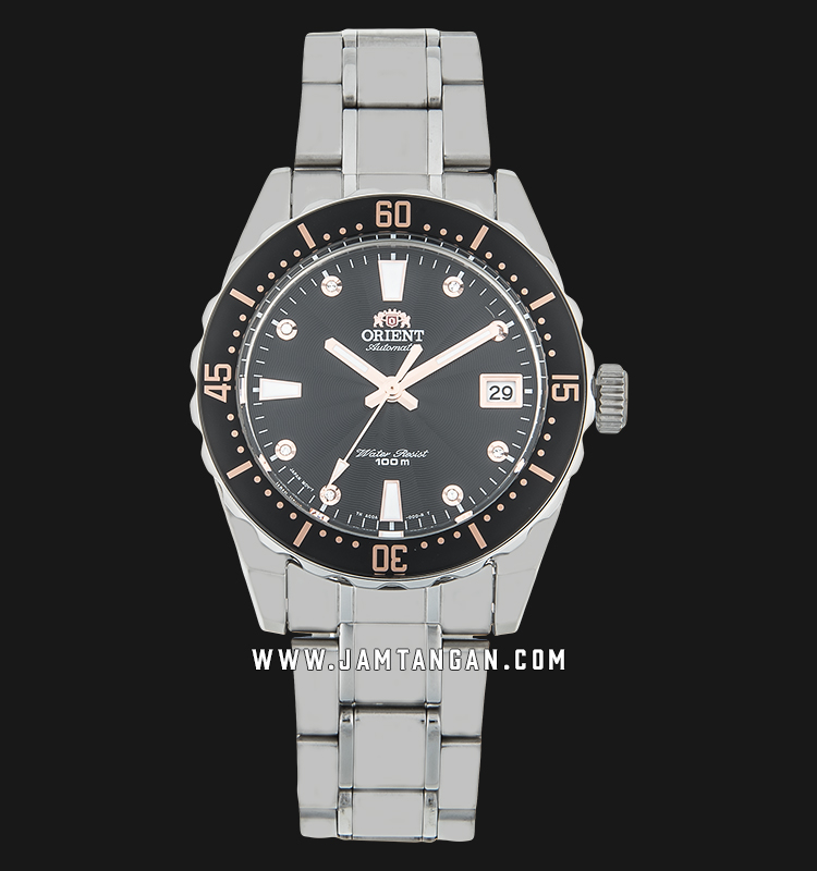 Orient FAC0A001B Automatic Sports 100M Superior Ladies Black Dial Stainless Steel Machtwatch