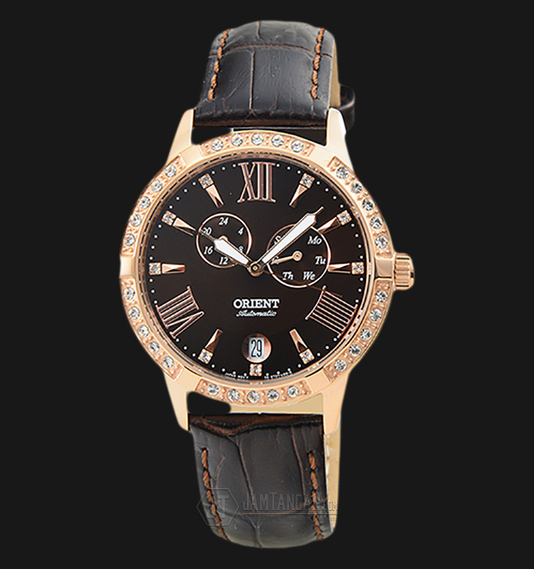 Orient Automatic FET0Y001T Crystal Bezel Brown dial Leather Strap Machtwatch
