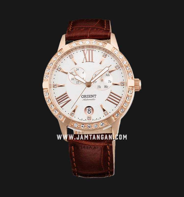 Orient Automatic FET0Y002W Crystal Bezel White dial Leather Strap Machtwatch