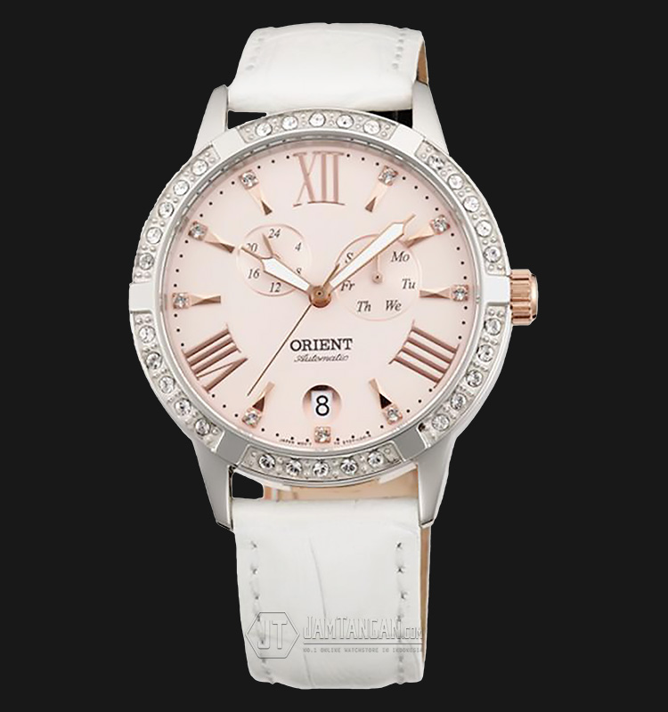 Orient Automatic FET0Y003Z Crystal Bezel Pink dial White Leather Strap Machtwatch