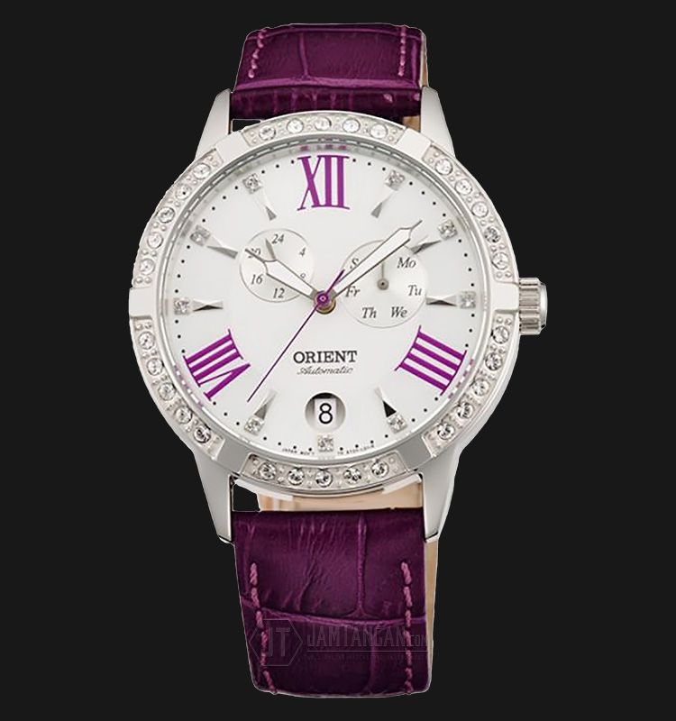 Orient Automatic FET0Y004W Crystal Bezel White dial Leather Strap Machtwatch