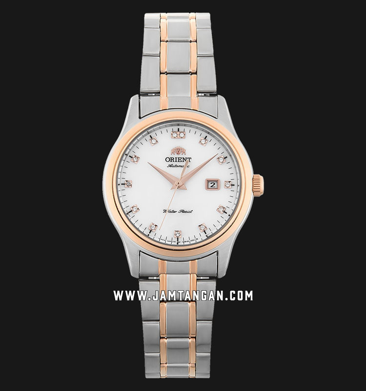 Orient FNR1Q001W Automatic Steel Dress Ladies White Mother of Pearl Dial Dual Tone Stainless Steel Machtwatch