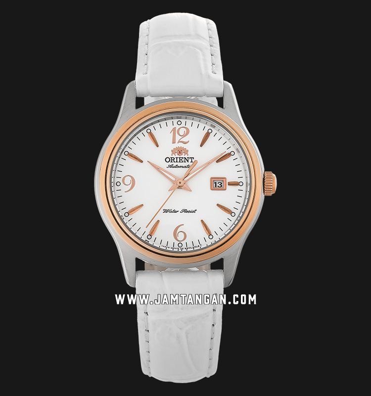 Orient Charlene FNR1Q003W Automatic Ladies White Dial White Leather Strap Machtwatch