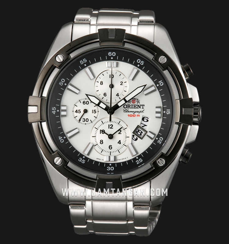 Orient FTT0Y003W Chronograph White Dial Stainless Steel Machtwatch