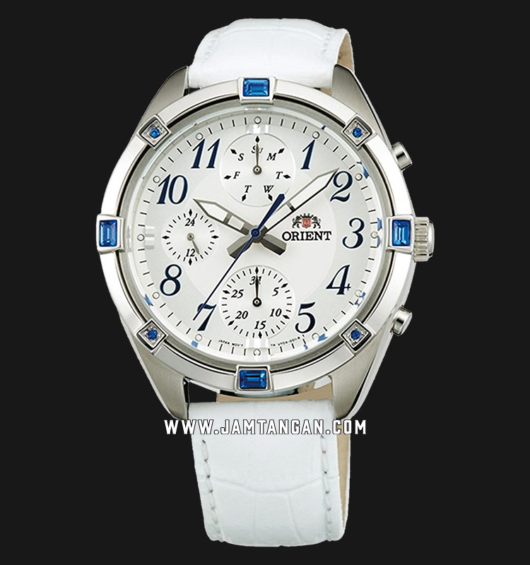 Orient FUY04006W Chronograph Ladies Silver Dial White Leather Strap Machtwatch