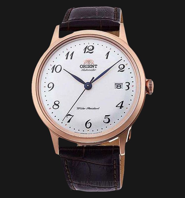Orient Automatic RA-AC0001S Men White Dial Brown Leather Strap Machtwatch