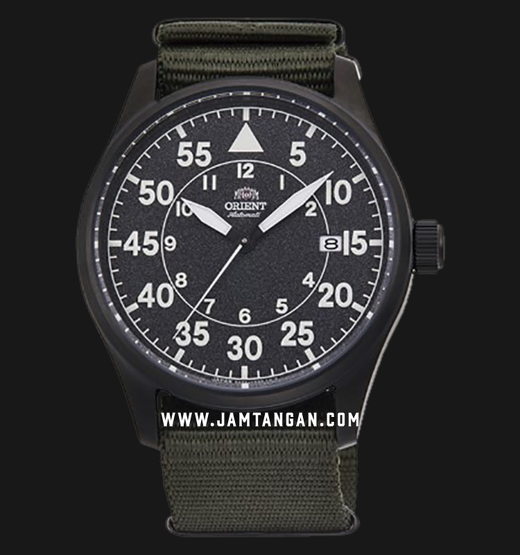 Orient Flight RA-AC0H02N Automatic Men Black Dial Green Army Nylon Strap Machtwatch