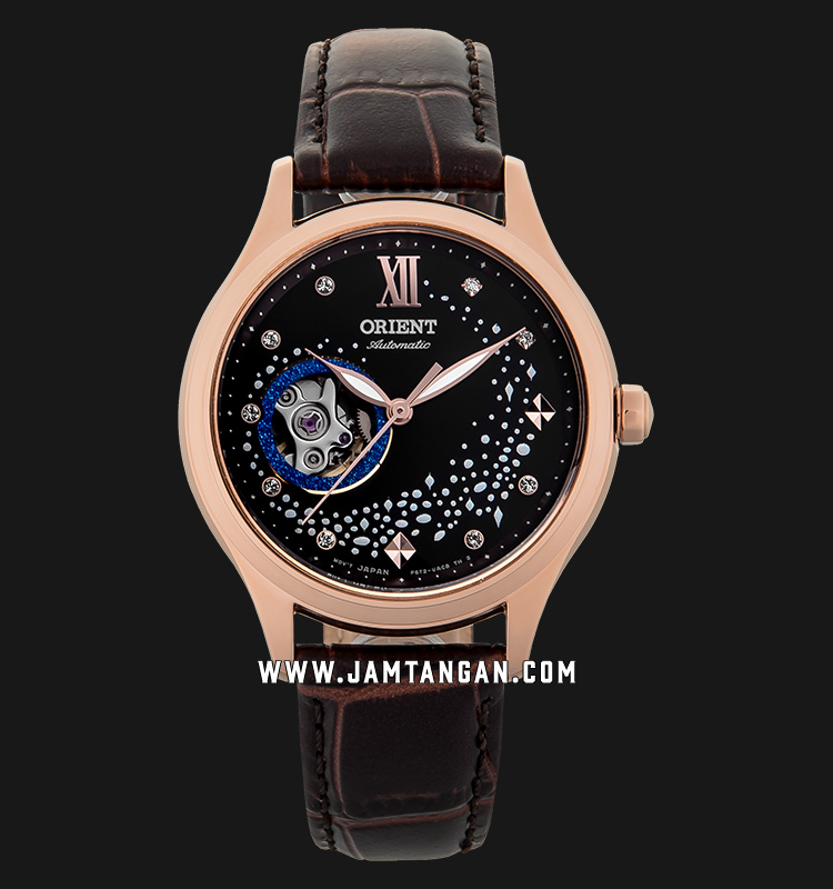 Orient RA-AG0017Y Automatic Blue Moon Open Heart Ladies Black Dial Brown Leather Strap Machtwatch