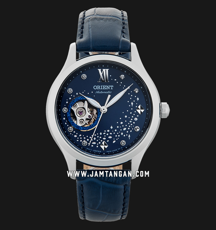 Orient RA-AG0018L Automatic Blue Moon Open Heart Ladies Blue Dial Blue Leather Strap Machtwatch