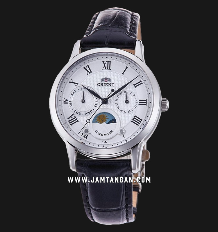 Orient Classic Sun and Moon RA-KA0006S Ladies Silver White Dial Black Leather Strap Machtwatch