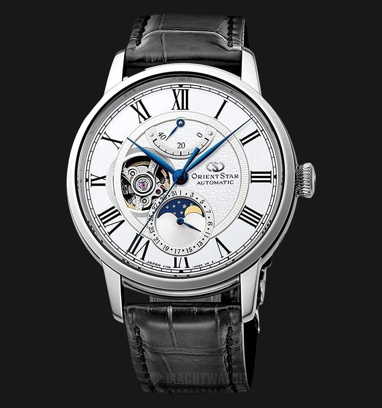 Orient Classic Star Mechanical Moon Phase RE-AM0001S Men White Dial Black Leather Strap Machtwatch