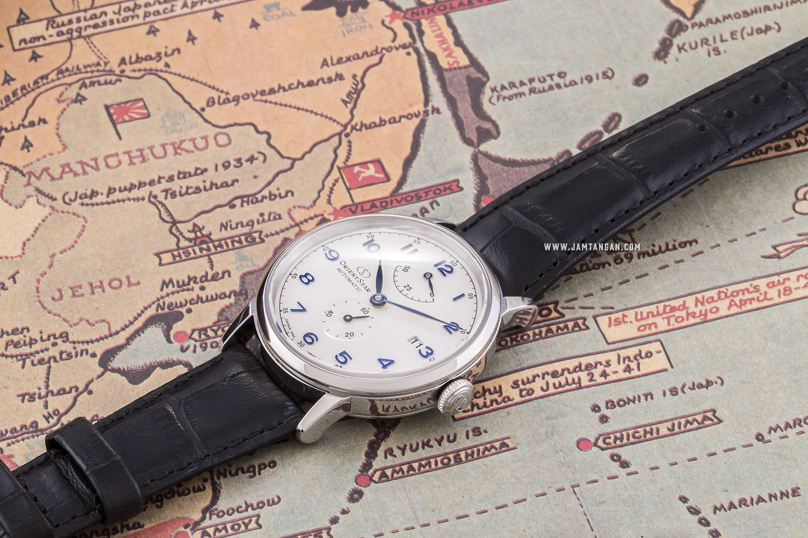 Orient RE-AW0004S Star Heritage Gothic Power Reserve Small Man Silver Dial Black Leather Strap Machtwatch
