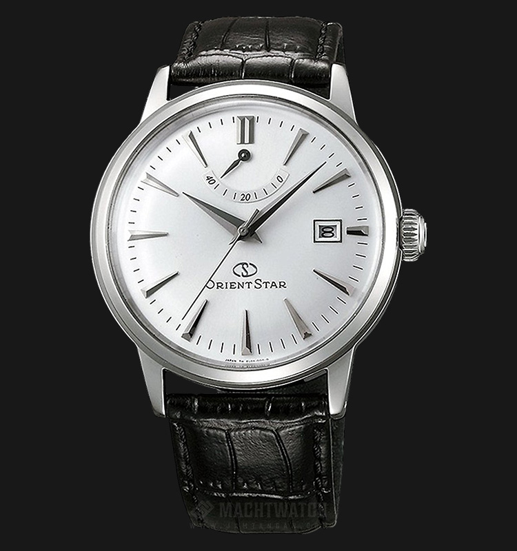 Orient SAF02004W Classic Automatic Power Reserve White Dial Leather Strap Machtwatch