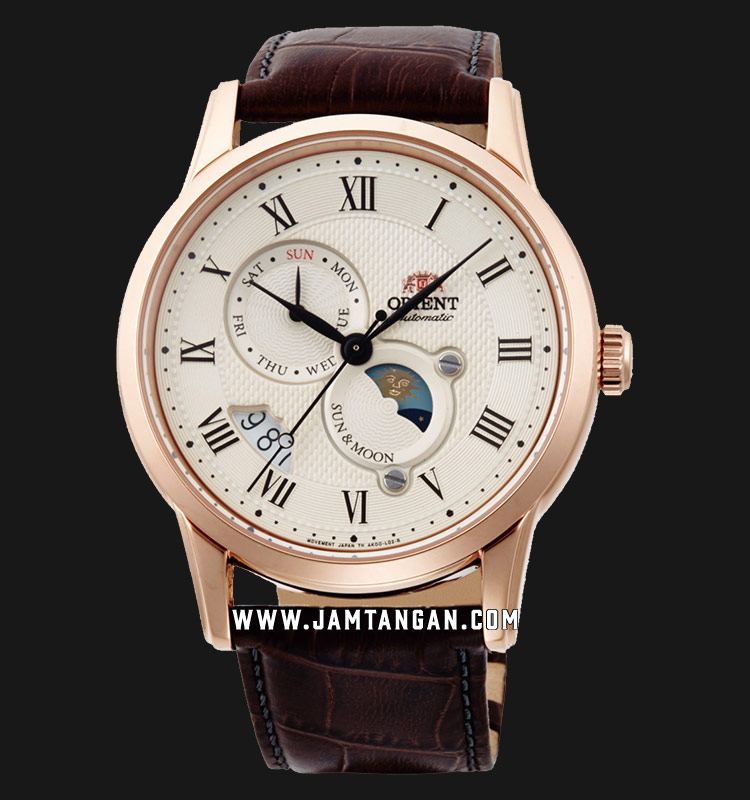 Orient Classic Sun and Moon SAK00001Y Men Champagne Dial Brown Leather Strap Machtwatch