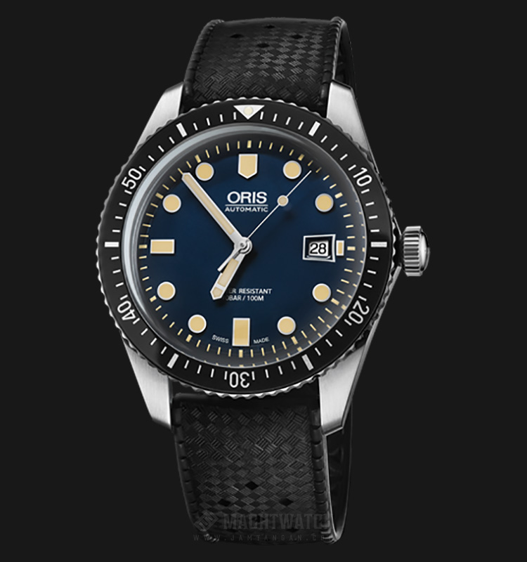 Oris Divers Sixty-Five Automatic 733 7720 4055 RS Blue Dial Black Rubber Strap Machtwatch