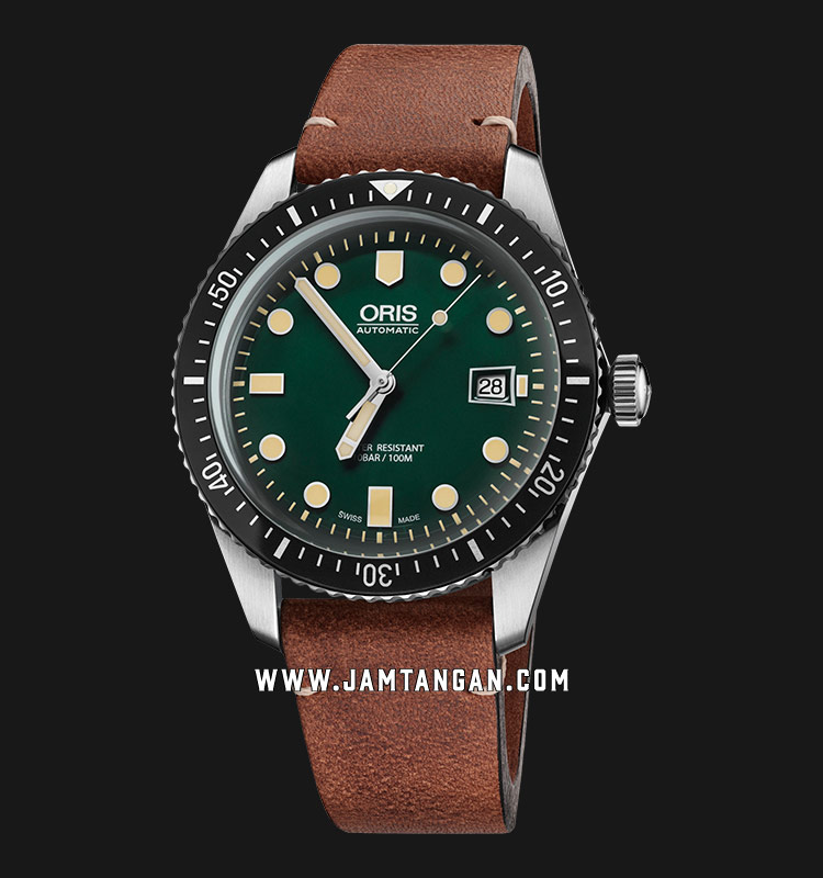 Oris Divers Sixty-Five 733 7720 4057 LS Men Green Dial Brown Leather Strap Machtwatch