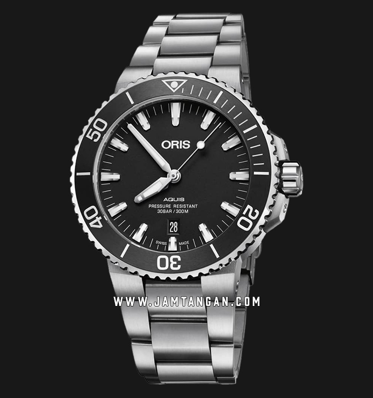 Oris Aquis Date 733 7730 4124 MB Men Black Dial Stainless Steel Strap Machtwatch