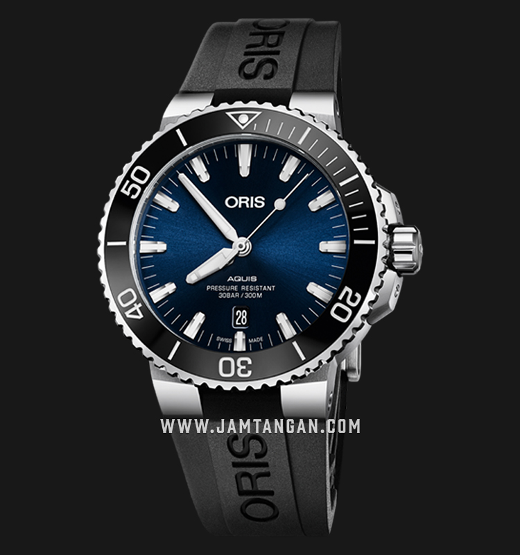 Oris Aquis Date 733 7730 4135 RS Blue Dial Black Rubber Strap Machtwatch