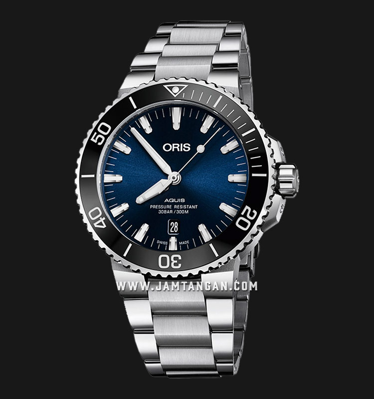 Oris Aquis Date 733 7730 4135 MB Blue Dial Stainless Steel Strap Machtwatch
