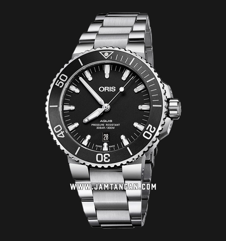 Oris Aquis Date 733 7730 4154 MB Black Dial Stainless Steel Strap Machtwatch