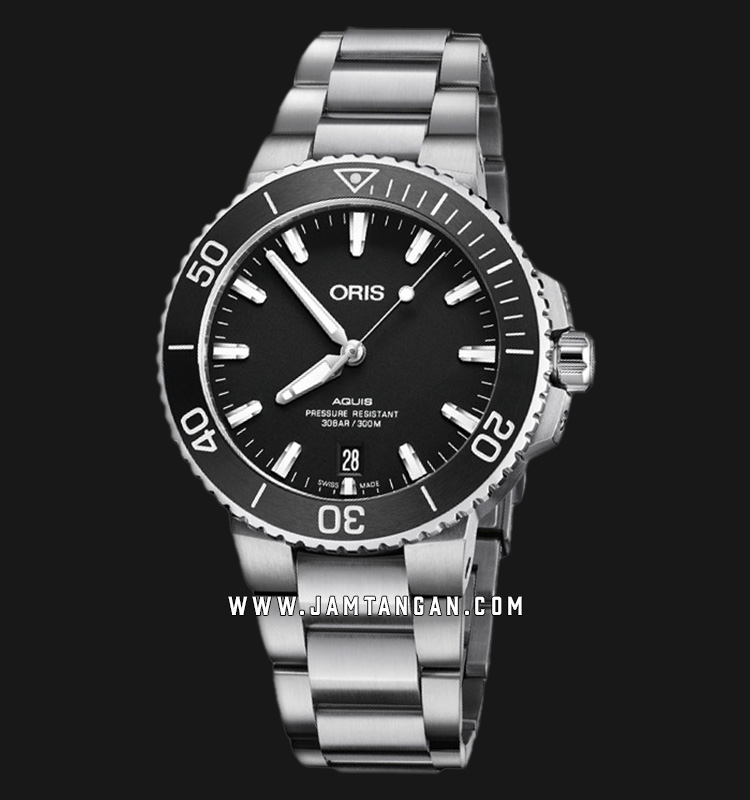 Oris Aquis Date 733 7732 4124 MB Men Black Dial Stainless Steel Strap Machtwatch