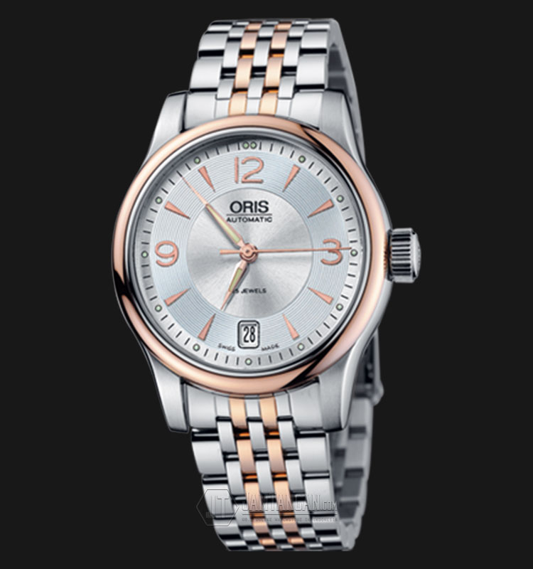 Oris Classic Date 733 7578 4361 MB Silver Dial Dual Tone Stainless Steel Strap Machtwatch
