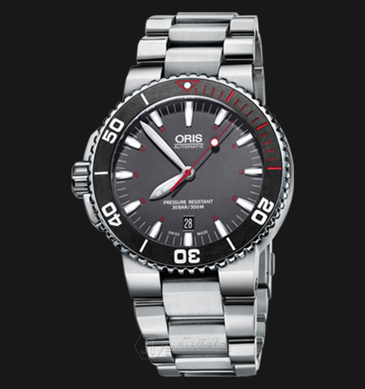 Oris Aquis Red Limited Edition 733 7653 4183 SET MB Stainless Steel Strap Machtwatch