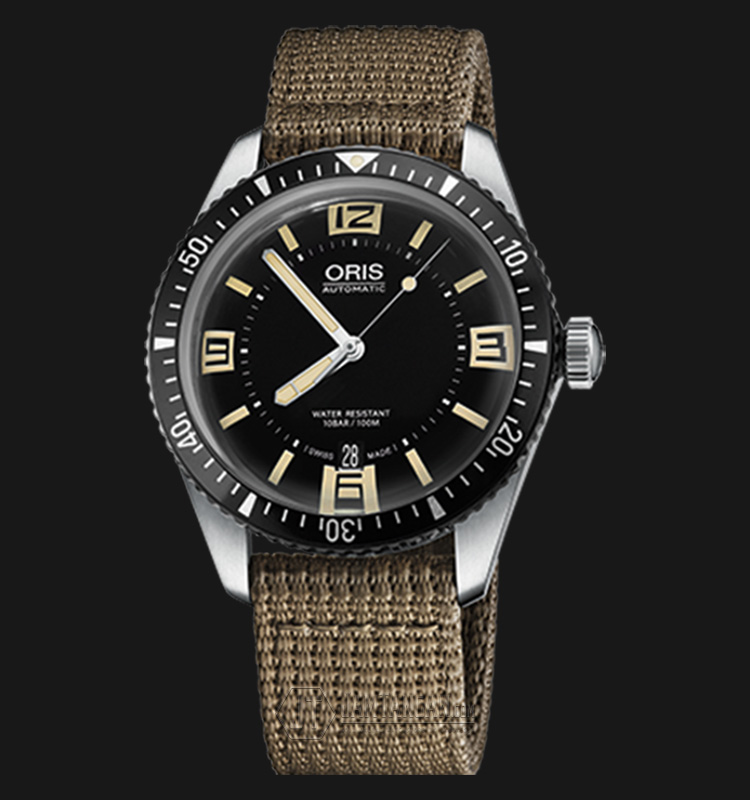 Oris Divers Sixty Five 733 7707 4064 TS Black Dial Beige Nato Strap Machtwatch