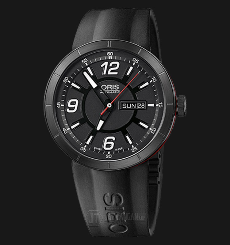 Oris TT1 Day Date 735 7651 4764 RS Black Dial Black Rubber Strap Machtwatch