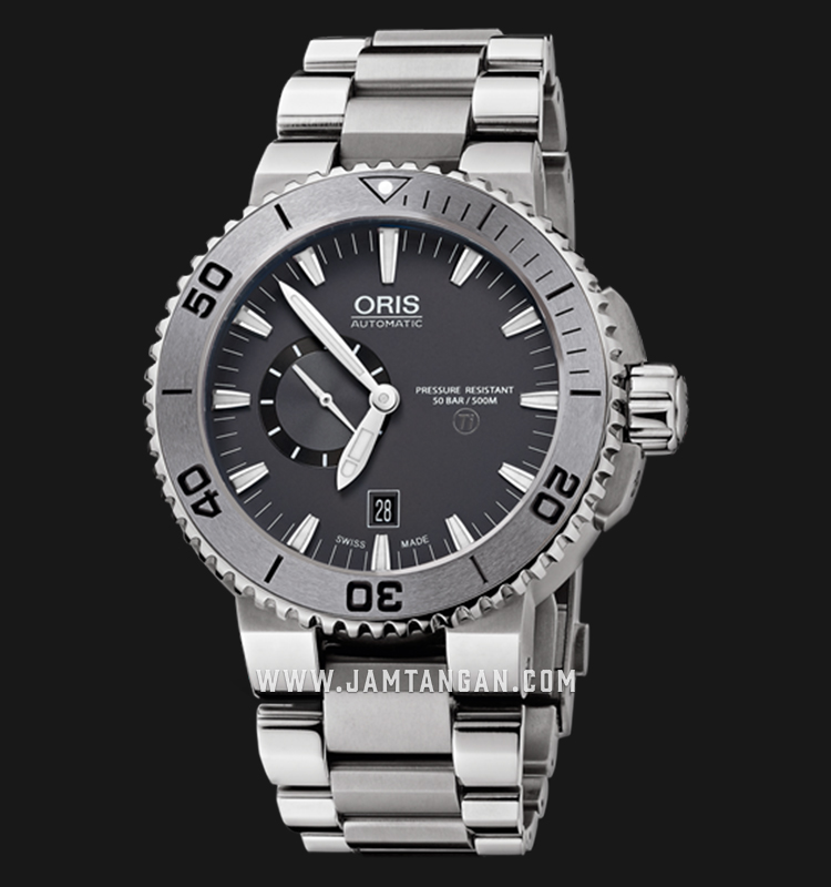 Oris Aquis Titan Small Second Date 743 7664 7253 MB Gray Dial Titanium Strap Machtwatch