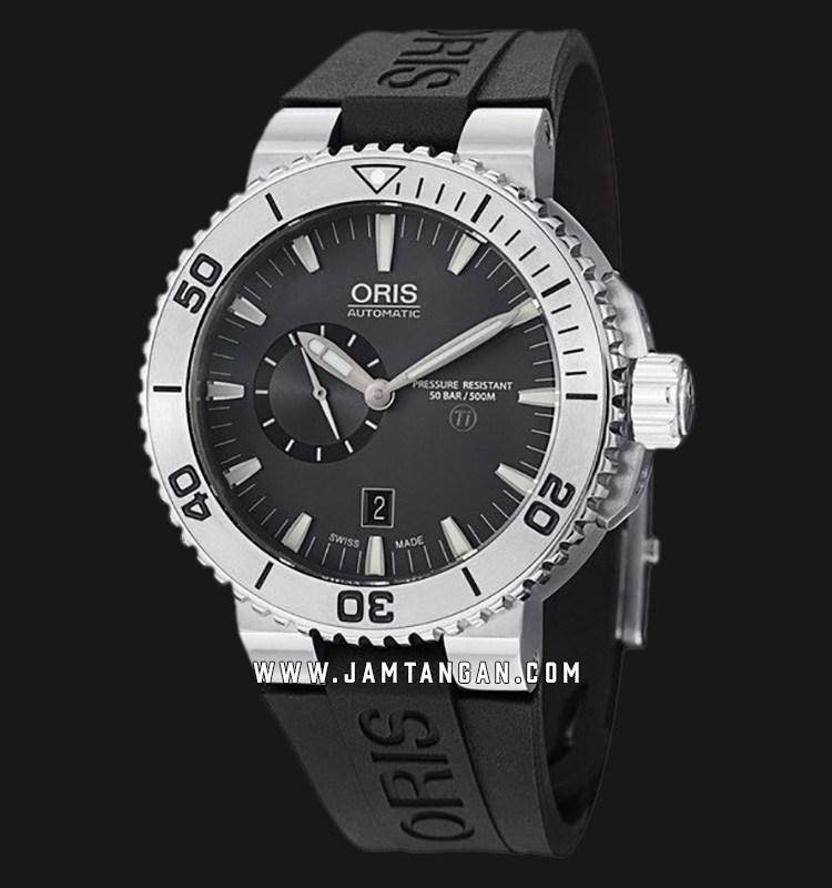 Oris Aquis Titan Small Second Date 743 7664 7253 RS Grey Dial Black Rubber Strap Machtwatch