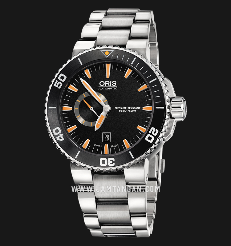Oris Aquis Small Second Date 743 7673 4159 MB Black Dial Stainless Steel Strap Machtwatch