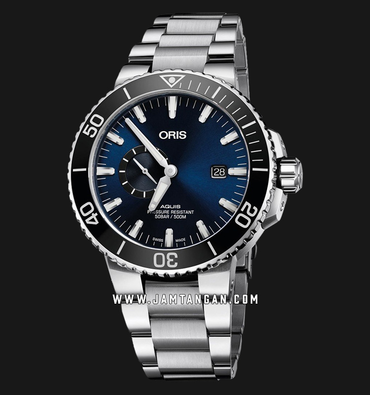 Oris Aquis Small Second Date 743 7733 4135 MB Blue Dial Stainless Steel Strap Machtwatch