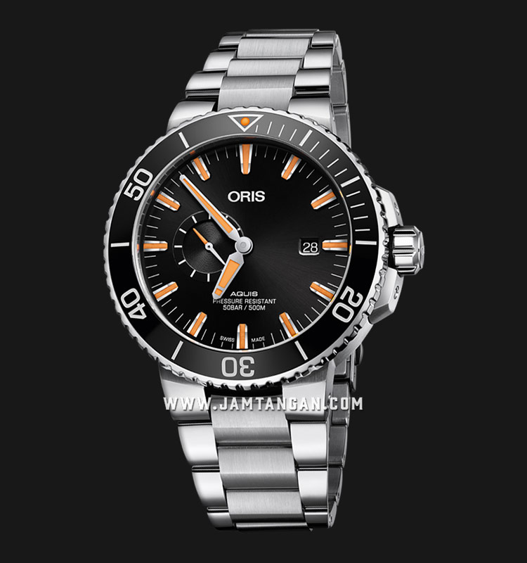 Oris Aquis Small Second Date 743 7733 4159 MB Black Dial Stainless Steel Strap Machtwatch