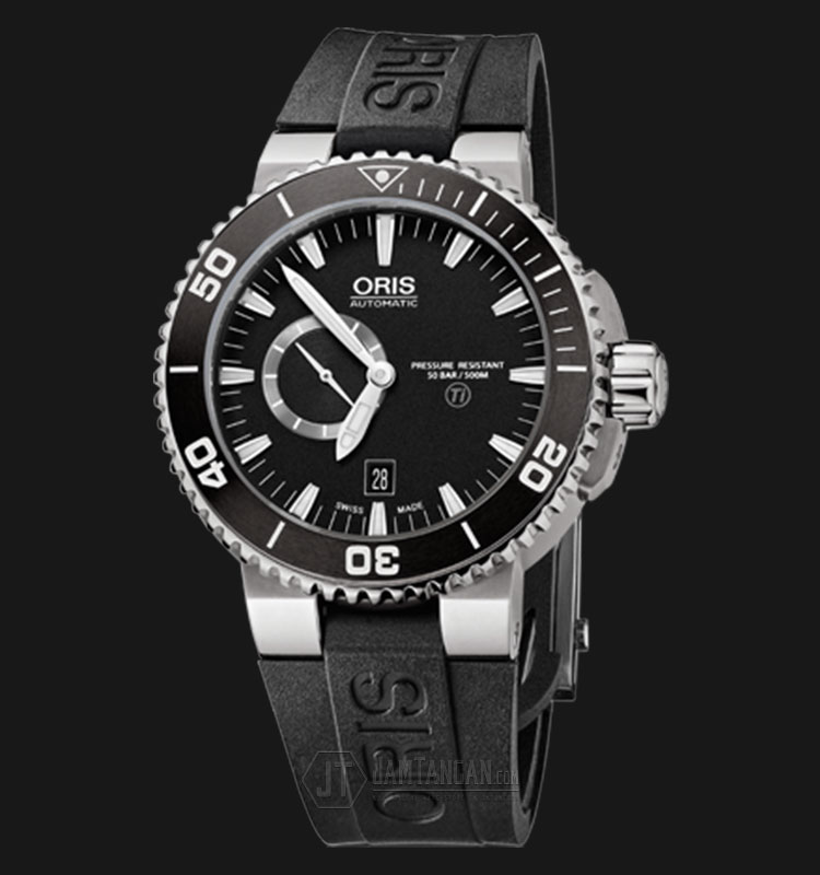 Oris Aquis Titan Small Second Date 743 7664 7154 RS Titanium Case Black Rubber Strap Machtwatch